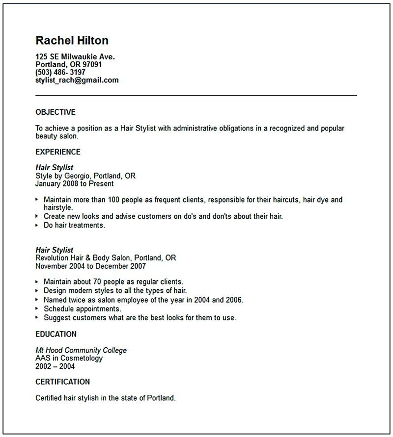 hairstylist resume examples 210 best sample resumes images on