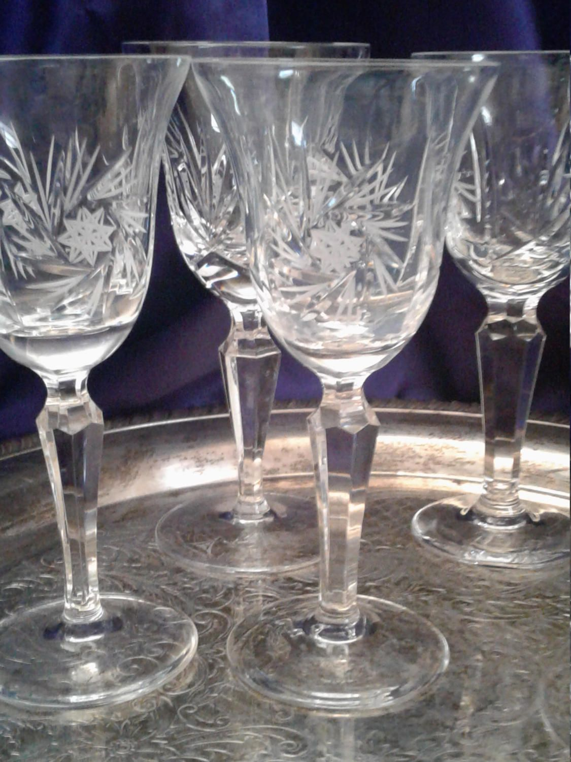 Crystal Stemware Wine Glasses Leaded Cut Glass Crystal Wine Goblets Anna Hutte Hobstar