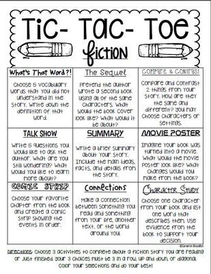 Reading Response Fiction Tic Tac Toe Choice Board from ccbrazel on - sample tic tac toe template