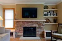 stone fireplace small room half wall