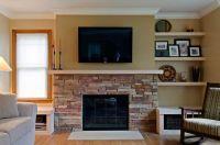 stone fireplace small room half wall