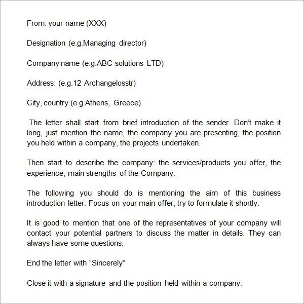 Sample Business Introduction Letter - 9+ Free Documents in PDF - introduction letter format