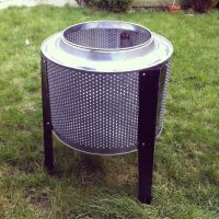 Up-cycled washing machine drum fire pit and BBQ. R2-BBQ ...
