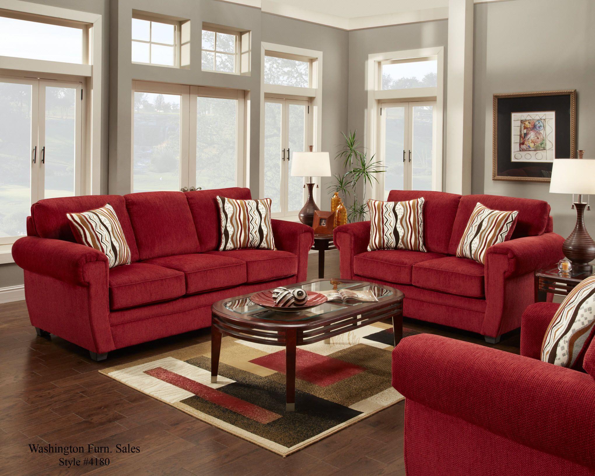 4180 Washington Samson Red Sofa and Loveseat @ www