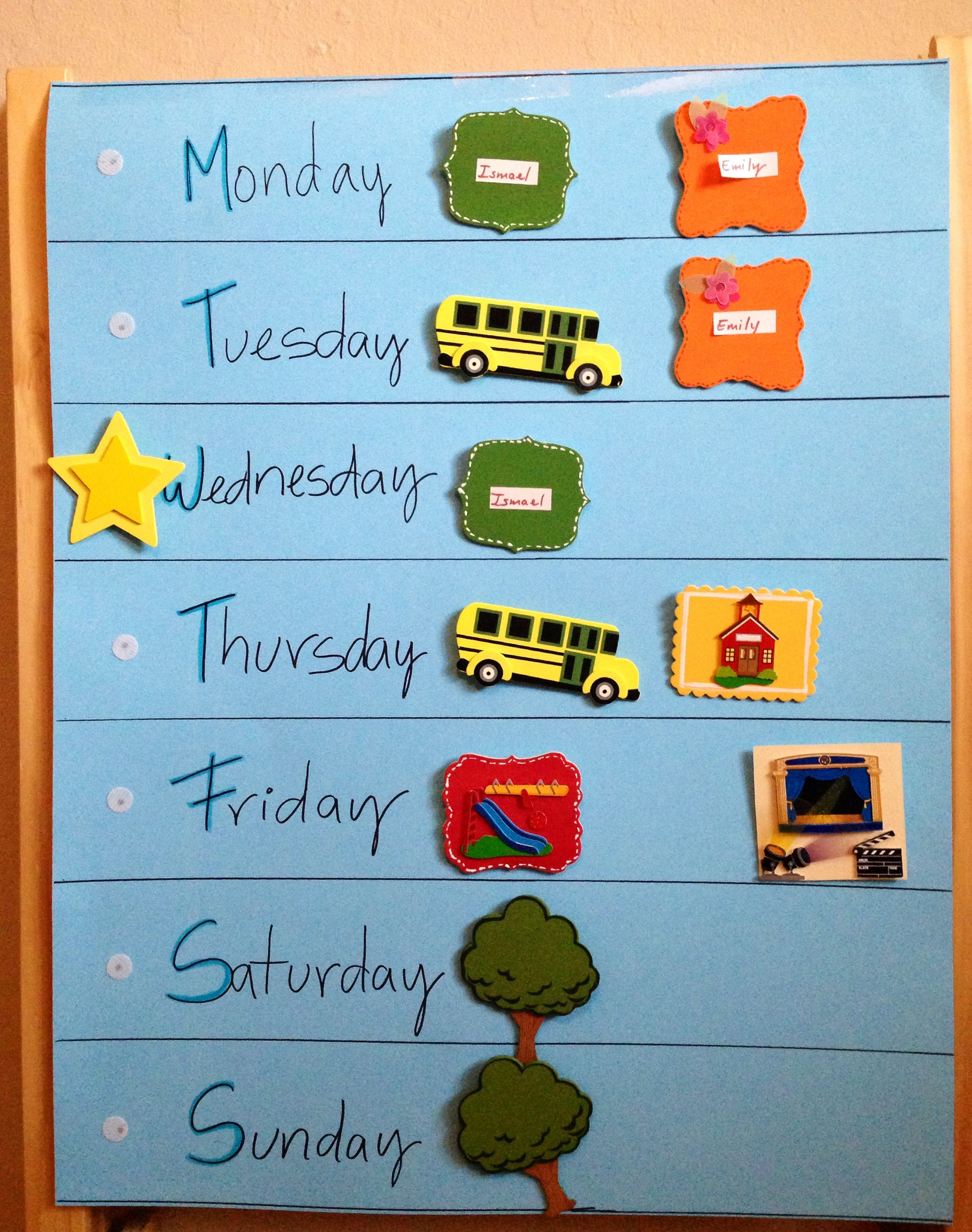 Kinderzimmer Planer Weekly Calendar For Kids Kinderzimmer Pinterest