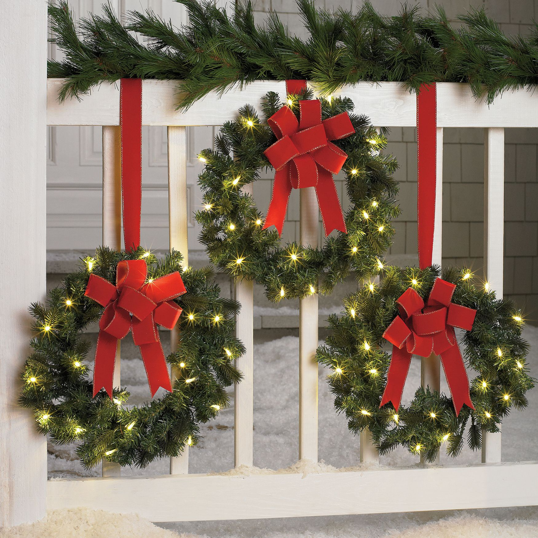 Set of 3 cordless pre lit mini christmas wreaths outdoor christmas decor brylanehome