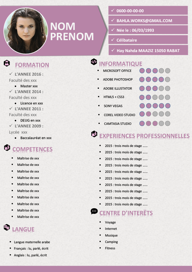 couleur cv marketing