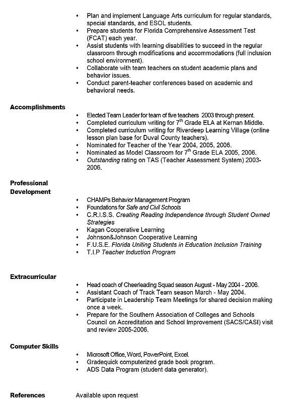 Sample Teacher Resume Middle School Pinterest Teacher - middle school resume