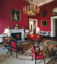 Red Victorian living room