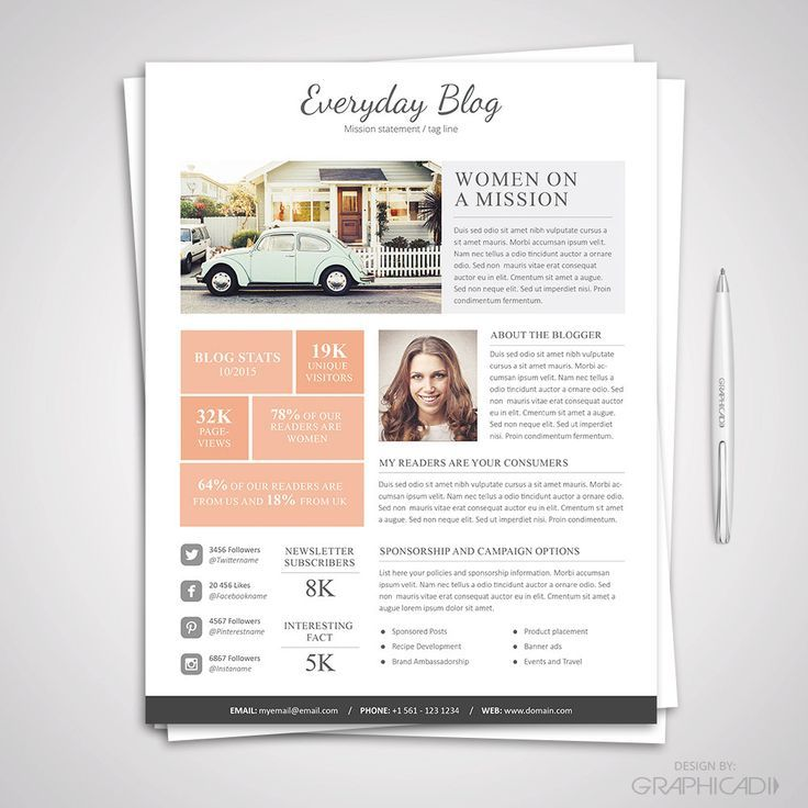 Blog Media Kit Template \ Ad Rate Sheet Template for Microsoft - rate sheet template