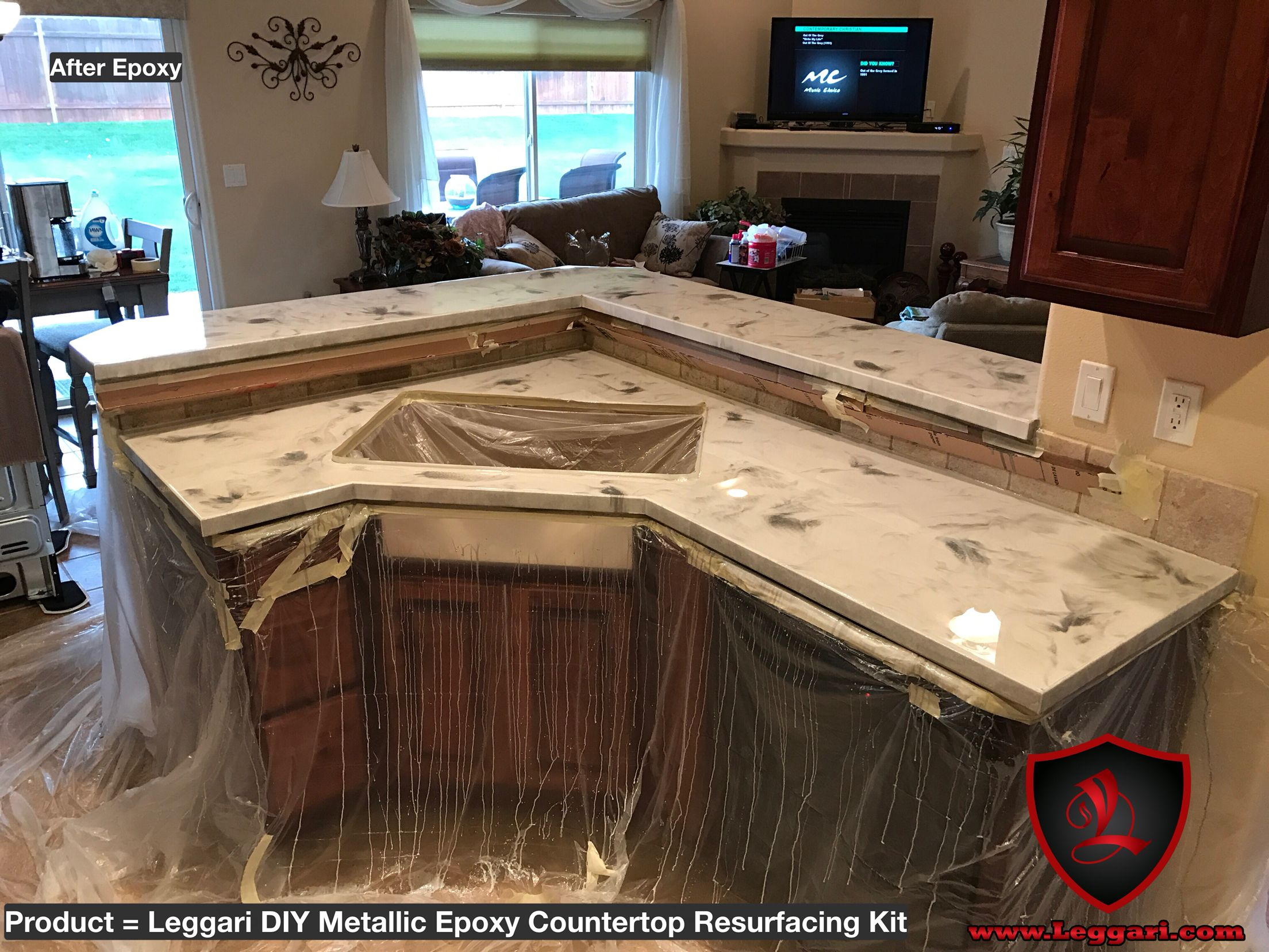 Countertop Epoxy Paint Diy Metallic Epoxy Countertop Kit Installed In A