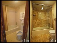 before and after images of bathroom shower remodels ...