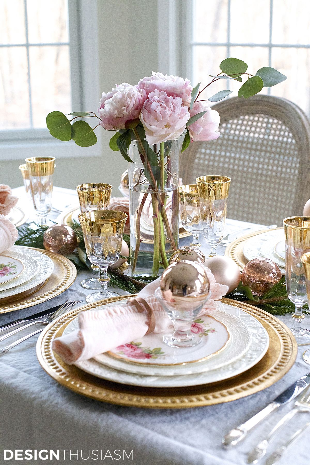 Table Decor And More Elegant Christmas Table Setting With Pink And Gold