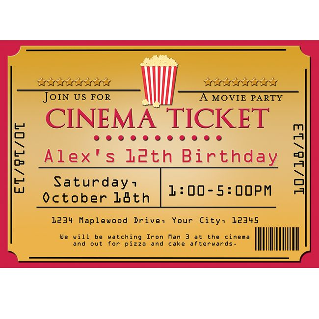 Movie theater ticket template - movie theater ticket template
