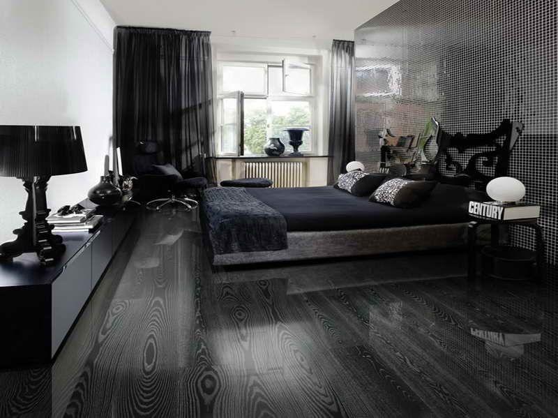 Black Hardwood Floor, Very Nice Look with Decorative bed table - bedroom floor ideas