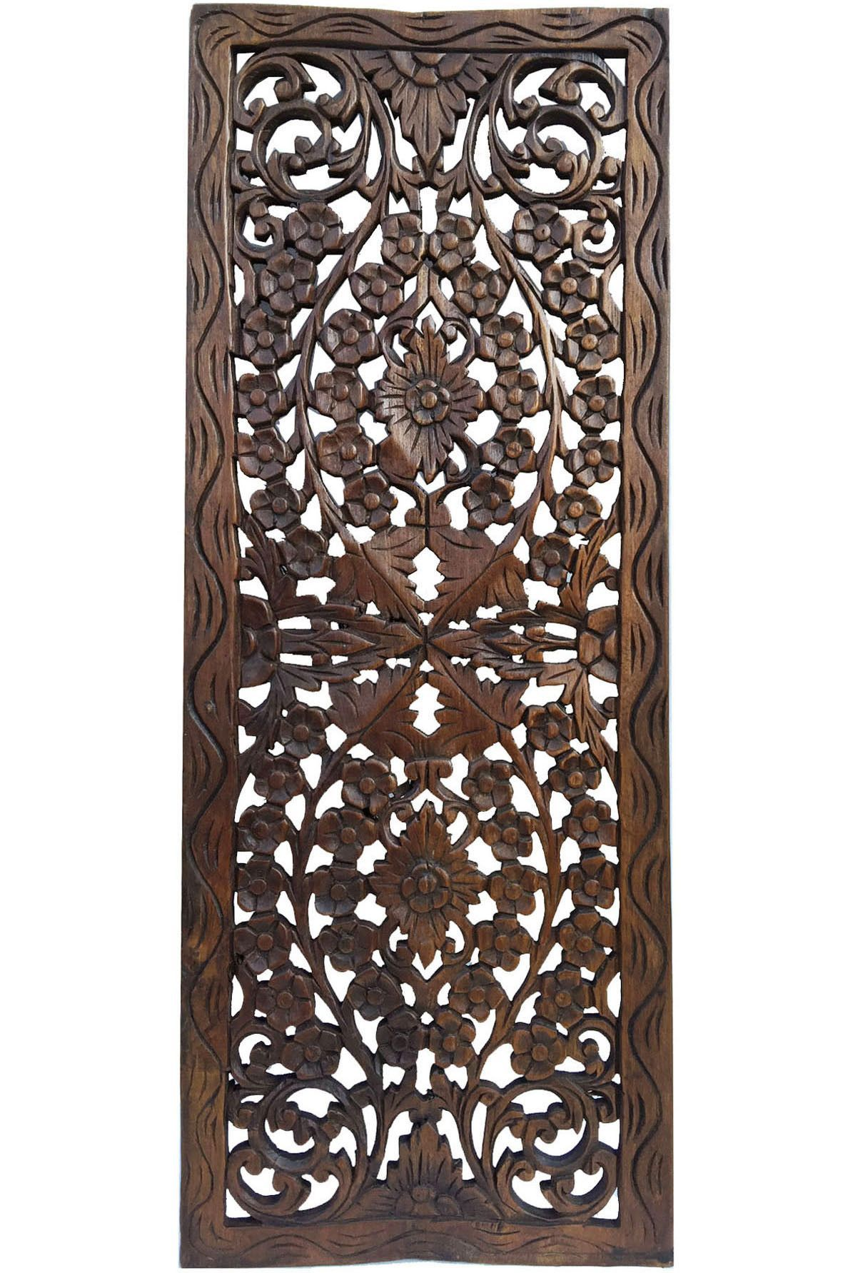Wood Decorative Wall Art Floral Wood Carved Wall Panel Wall Hanging Asian Home