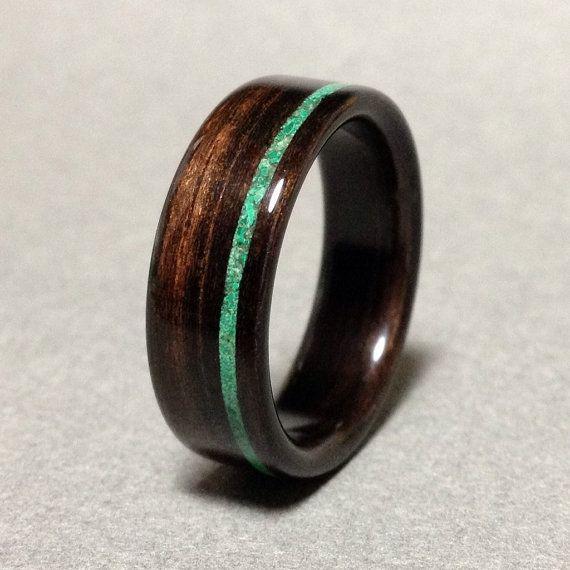 Ebony Wood Ring with Malachite Stone Inlay, Bentwood Ring