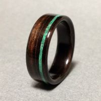 Ebony Wood Ring with Malachite Stone Inlay, Bentwood Ring