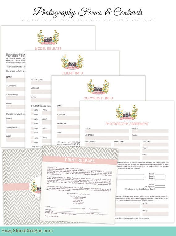 INSTANT DOWNLOAD - 5 Photography Contracts Set - Model Release - photography contracts