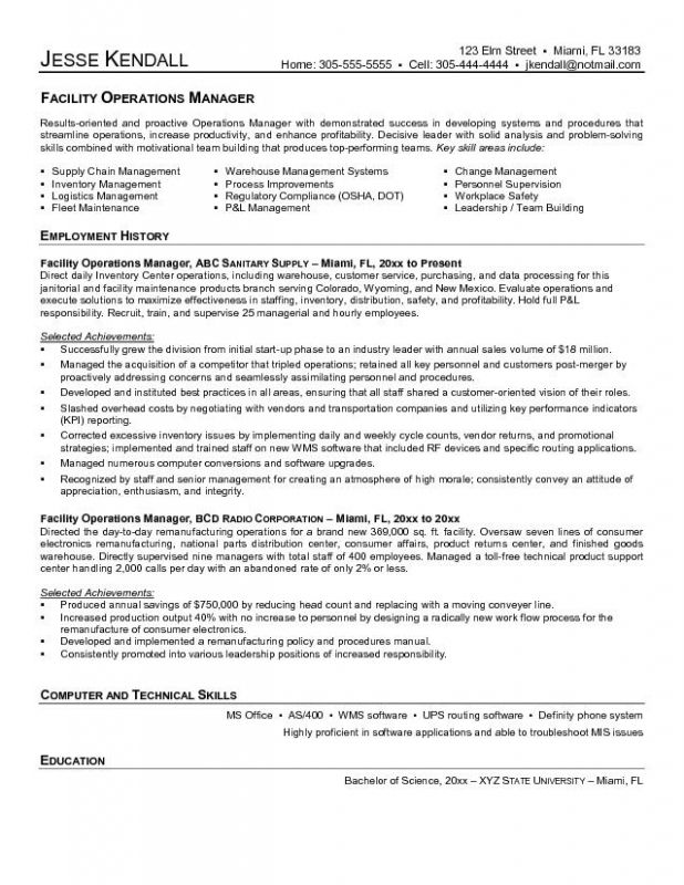 Operations Manager Resume Examples | Enwurf.csat.co