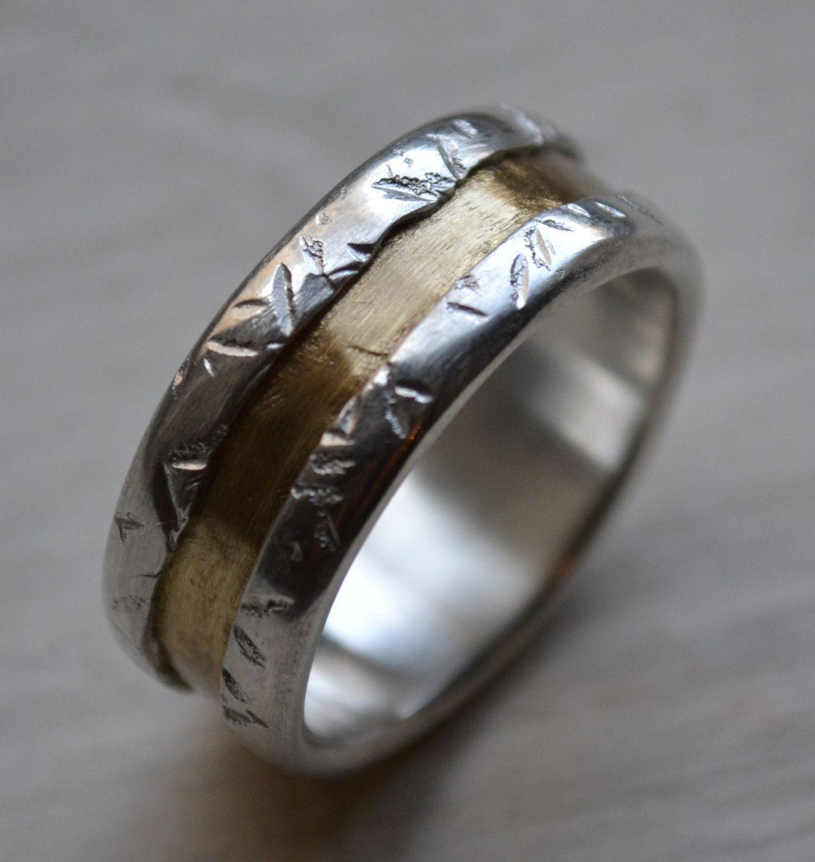 handmade wedding rings Mens wedding band fine silver and brass wedding ring handmade texturized artisan designed wedding band customized custom hand stamping