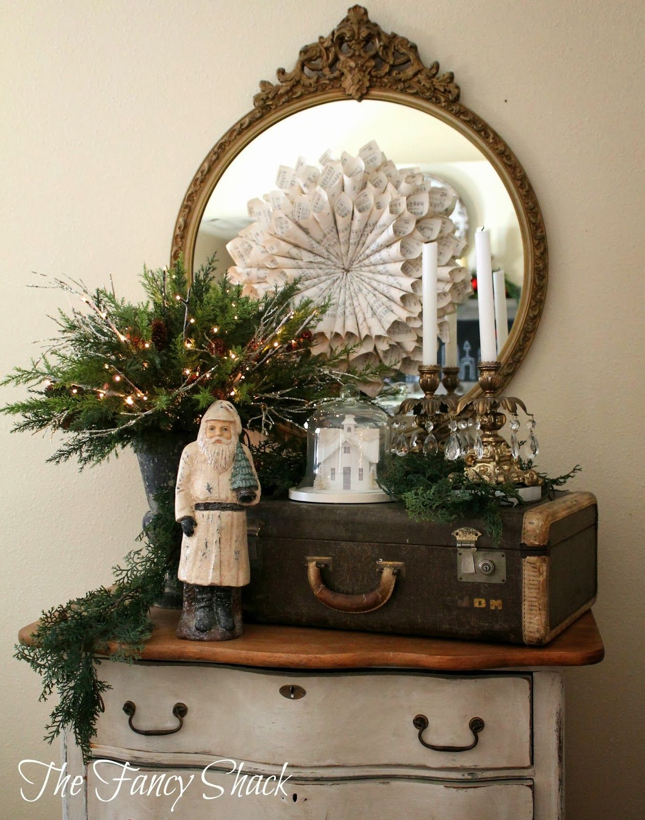 Vintage Decorative Suitcases Love The Mix Of Christmas And Vintage Items Love The