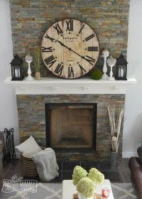 Rustic Vintage Industrial Fall Mantel with a clock ...