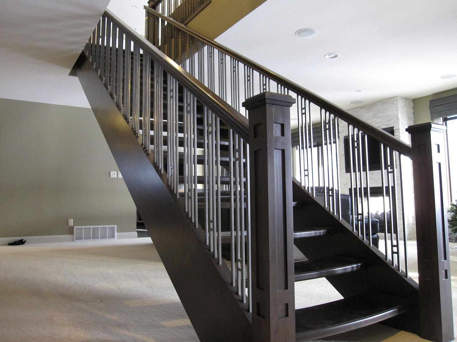 Modern Stair Case Accent Your Stairs Using Metal Stair Railing Newels And