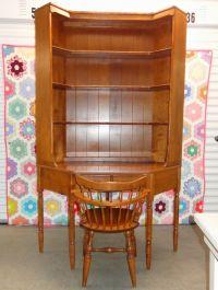 Ethan Allen Corner Desk with Matching Bookshelf Hutch Top ...