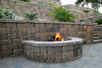 Cool Keystone Country Manor fire pit built into a Country ...
