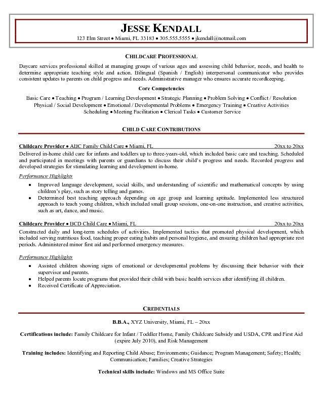 resume for child care background Finding Work \ Careers - child caregiver resume