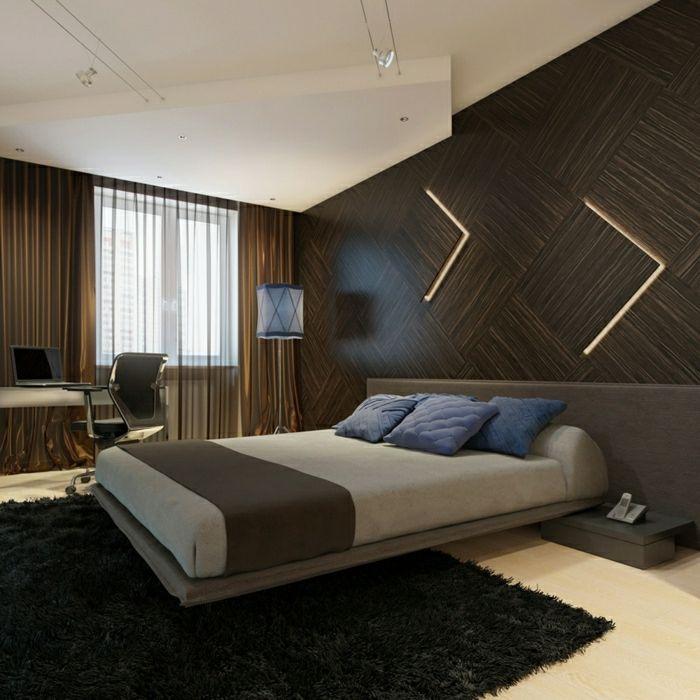 moderne-einrichtung-schlafzimmer-wandgestaltung-holz-schöne-wände - schlafzimmer einrichten holz