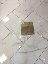 Larix Natural wood tile on Calcutta Matte Porcelain (12x24 ...