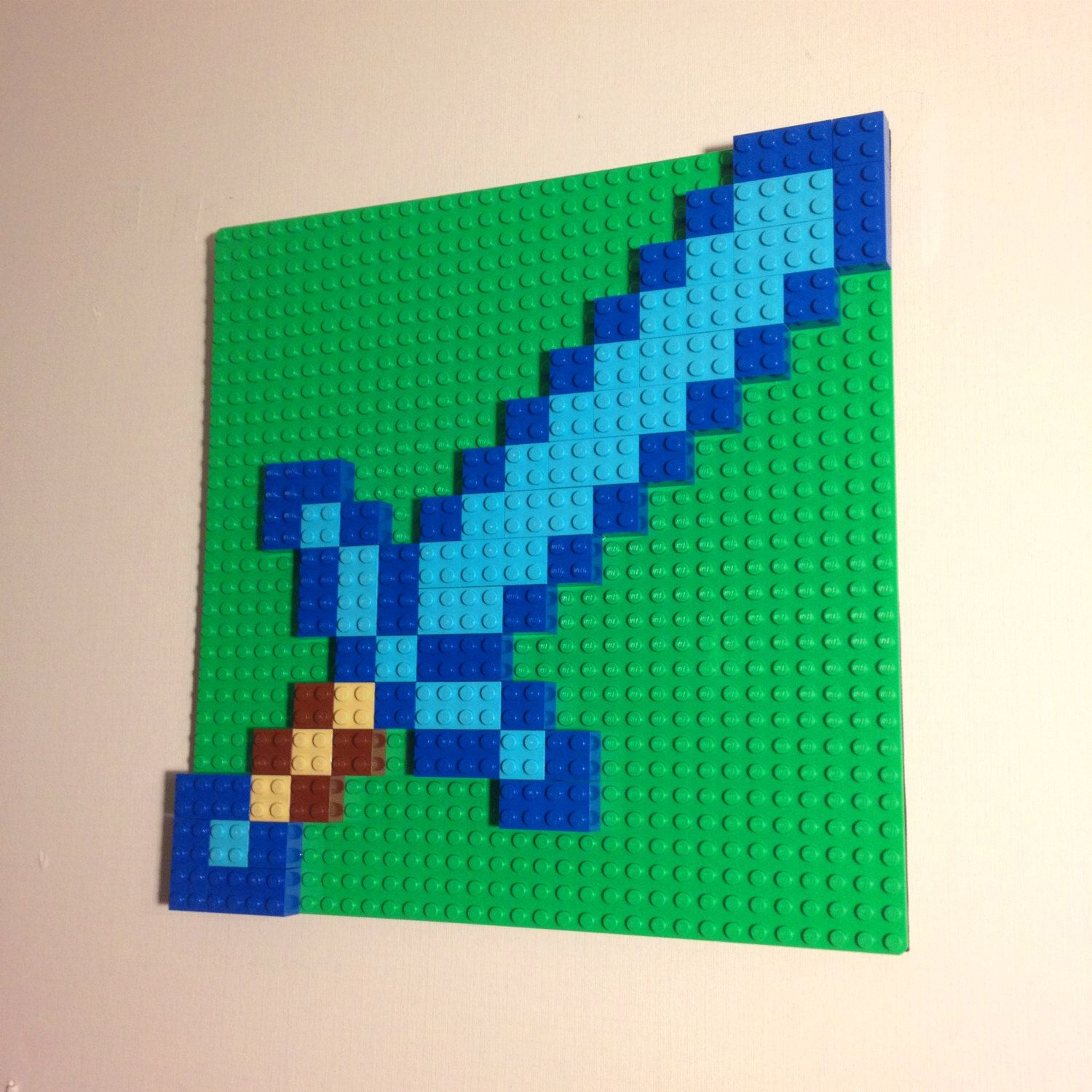 Lego Inspired Minecraft Inspired Lego Wall Art Diamond Sword Hanging