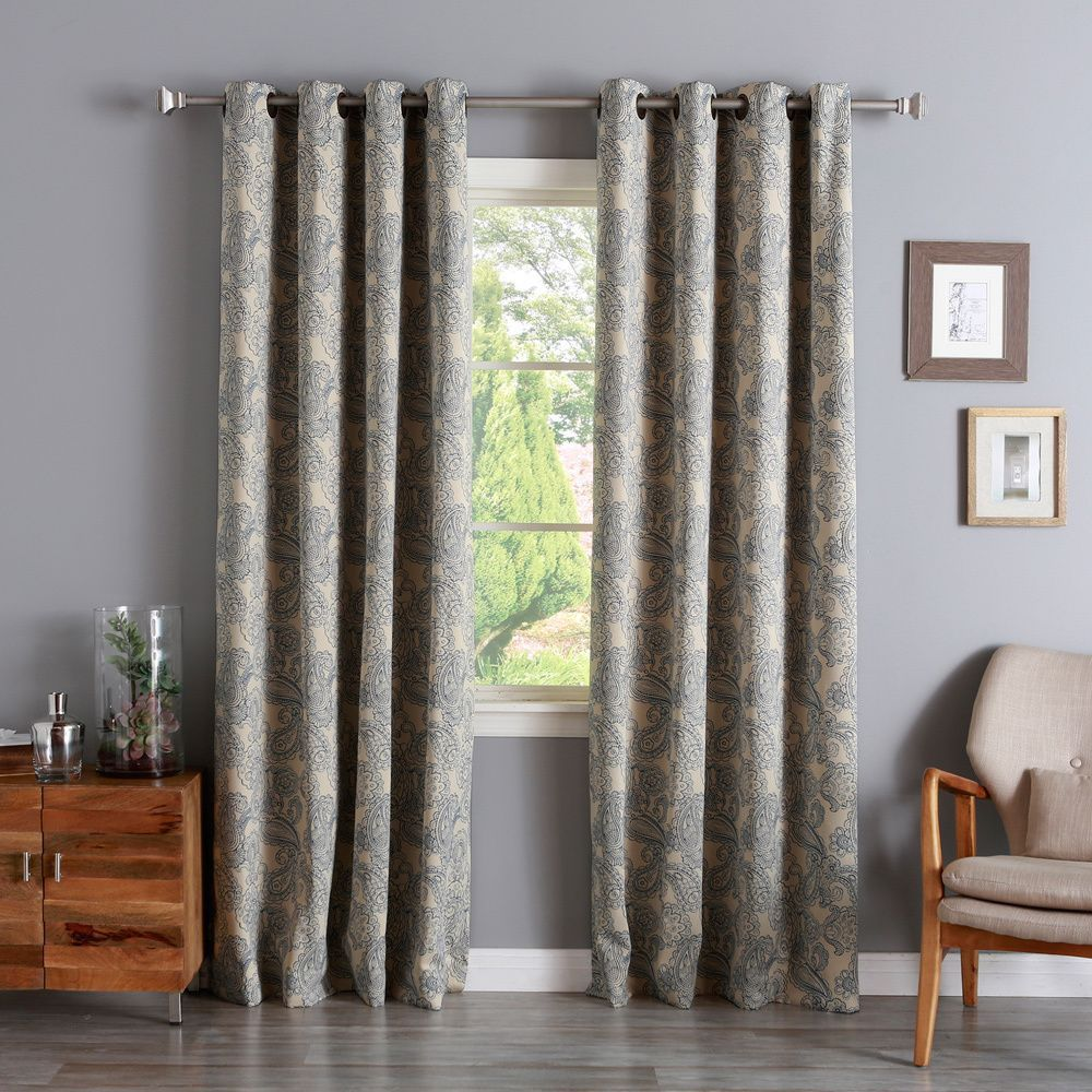 Aurora home paisley stitch printed blackout grommet top curtain panel pair by aurora home
