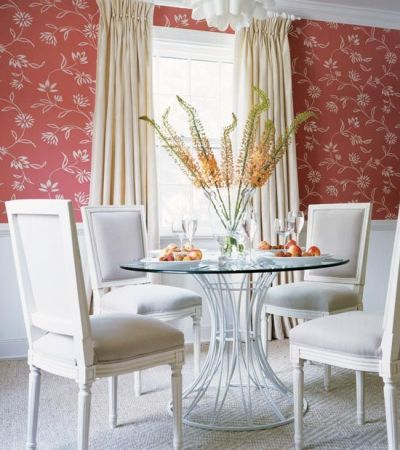 Wallpaper above the chair rail! Check out #Thibaut's simple Waterlily wallpaper from the ...
