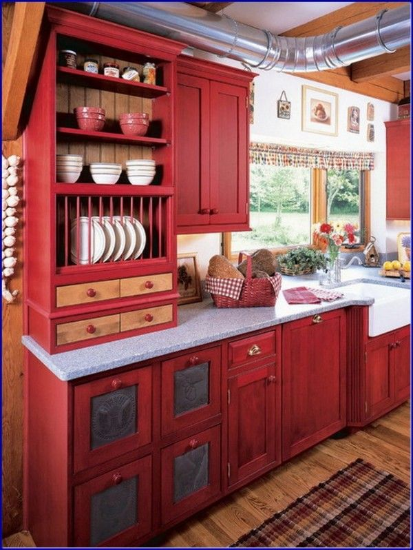 Perfect Red Country Kitchen Cabinet Design Ideas For Small Space - small country kitchen ideas