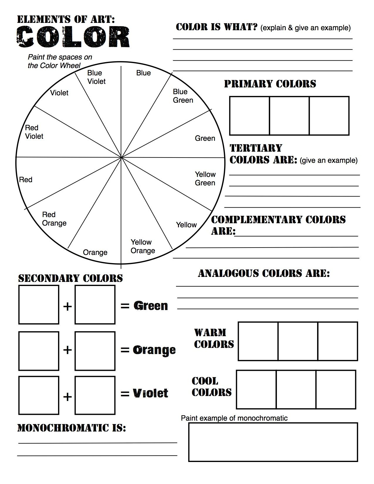 Color theory review sheet made for studio in art revised from http