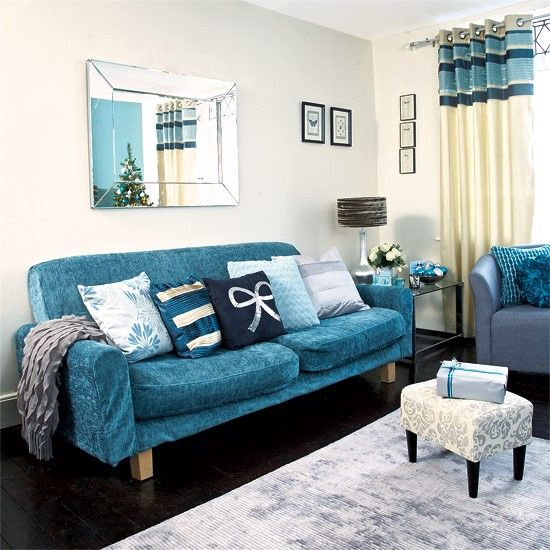 Festive teal and silver living room scheme Teal sofa, Teal - silver living room furniture