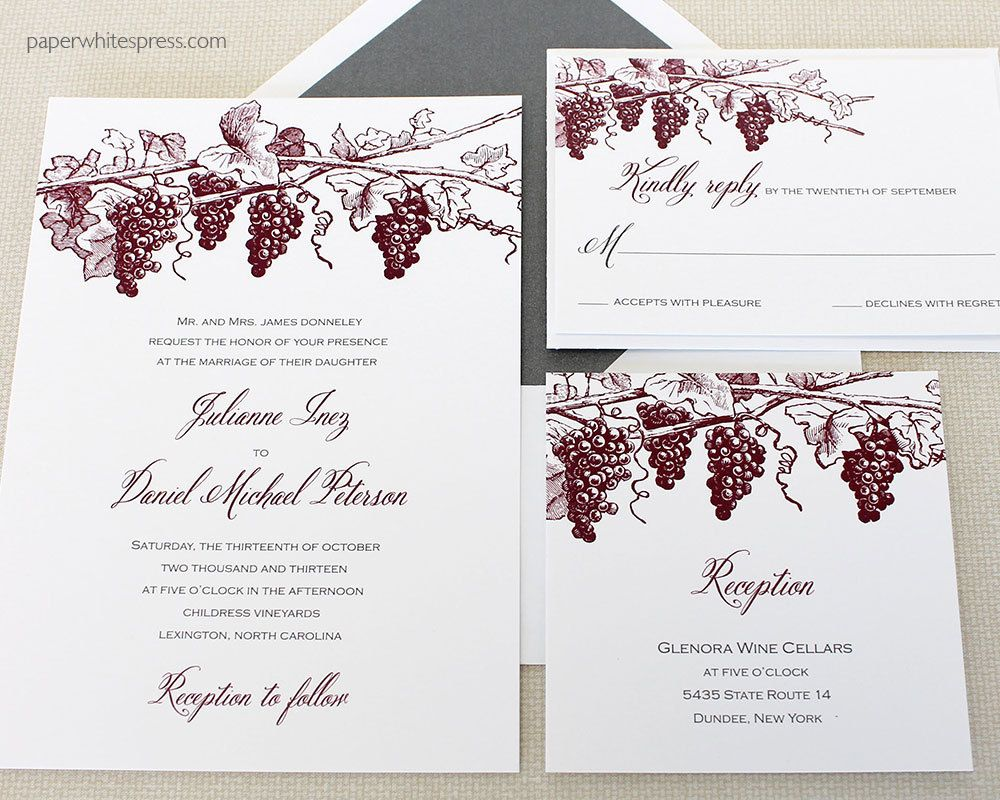 Winery Wedding Invitation Vineyard Wedding Invitation