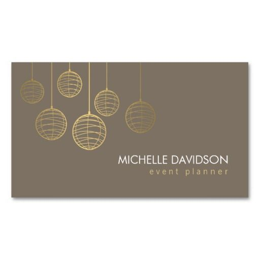 Elegant Gold Paper Lanterns Business Card Template for Event - event card template