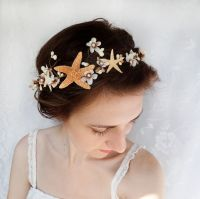 seashell hair accessory, beach wedding, starfish head ...