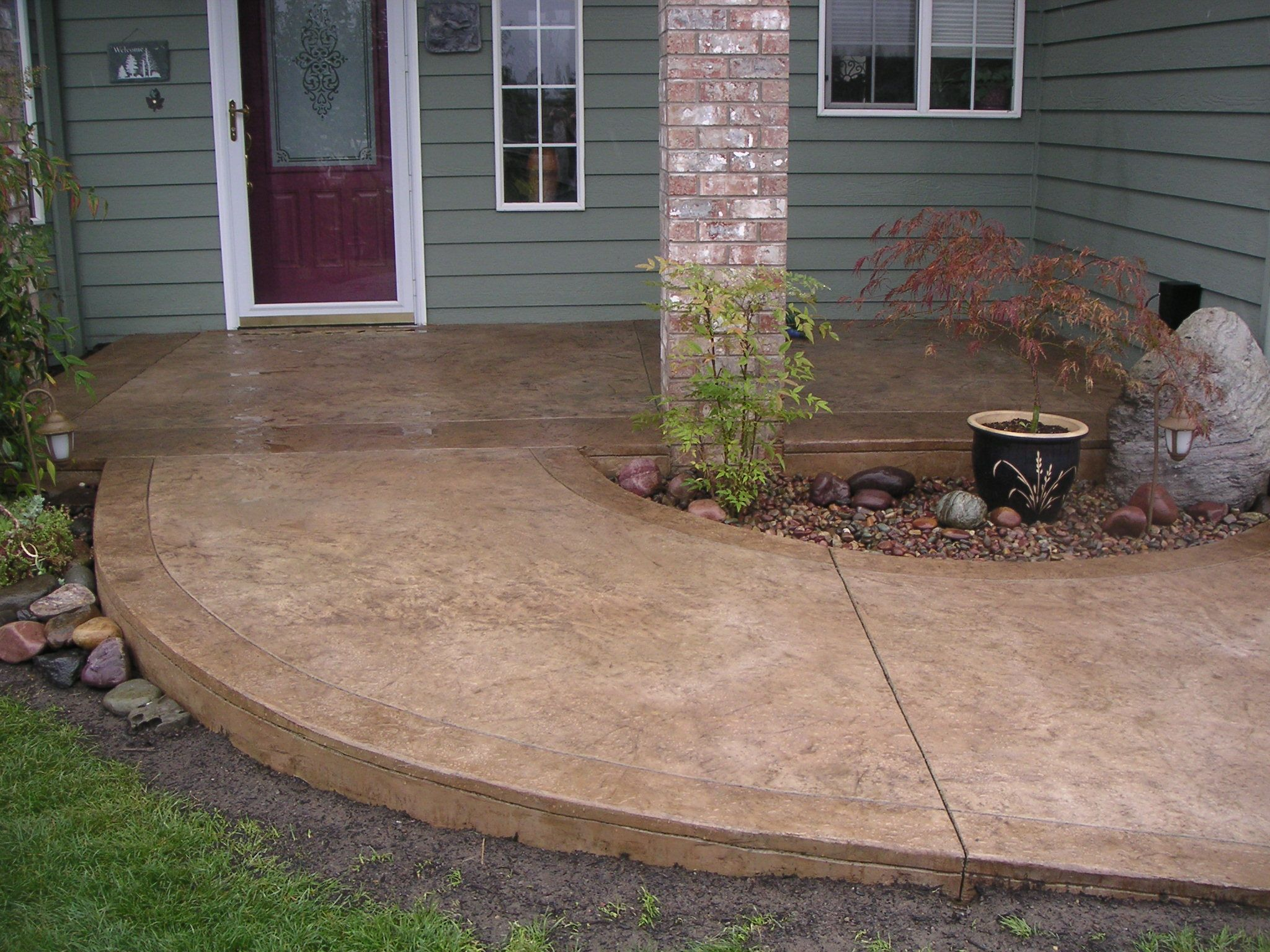 Diy Paint Concrete Patio Stained Cement Porch Concrete Walkway Ideas Cement