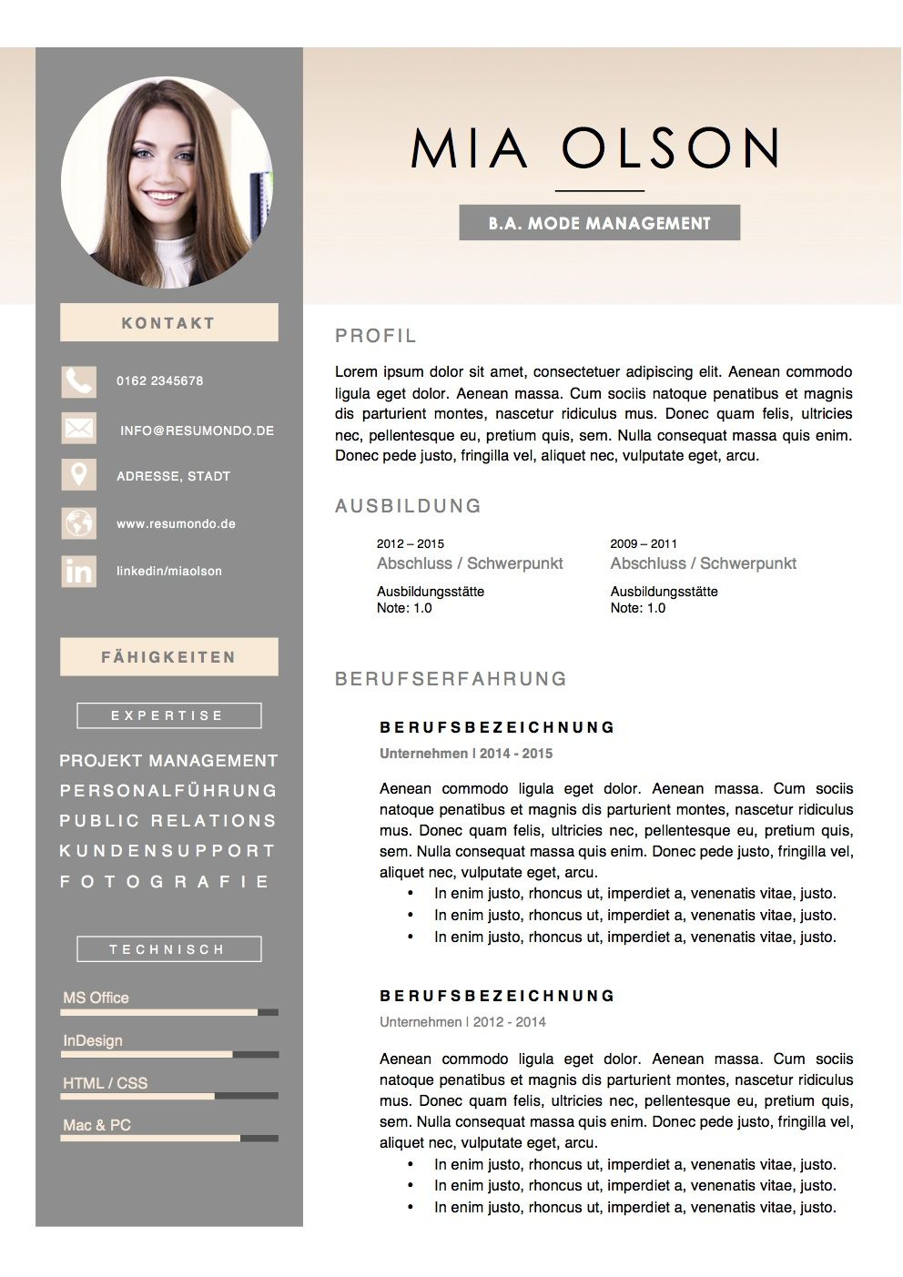 stockholm resume template free download