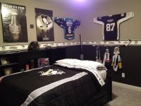 collection of hockey items to make a fun boy's hockey room ...