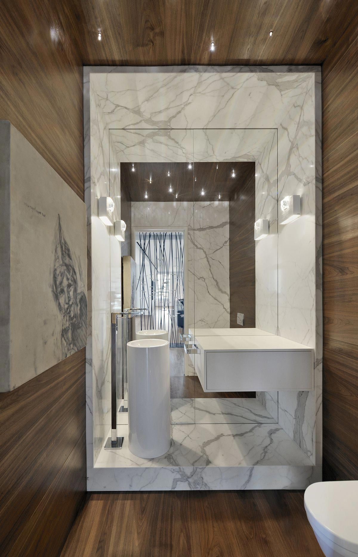 Stone Framed Bathroom Mirrors Large Mirror Modern Sink Bathroom Yorkville Penthouse