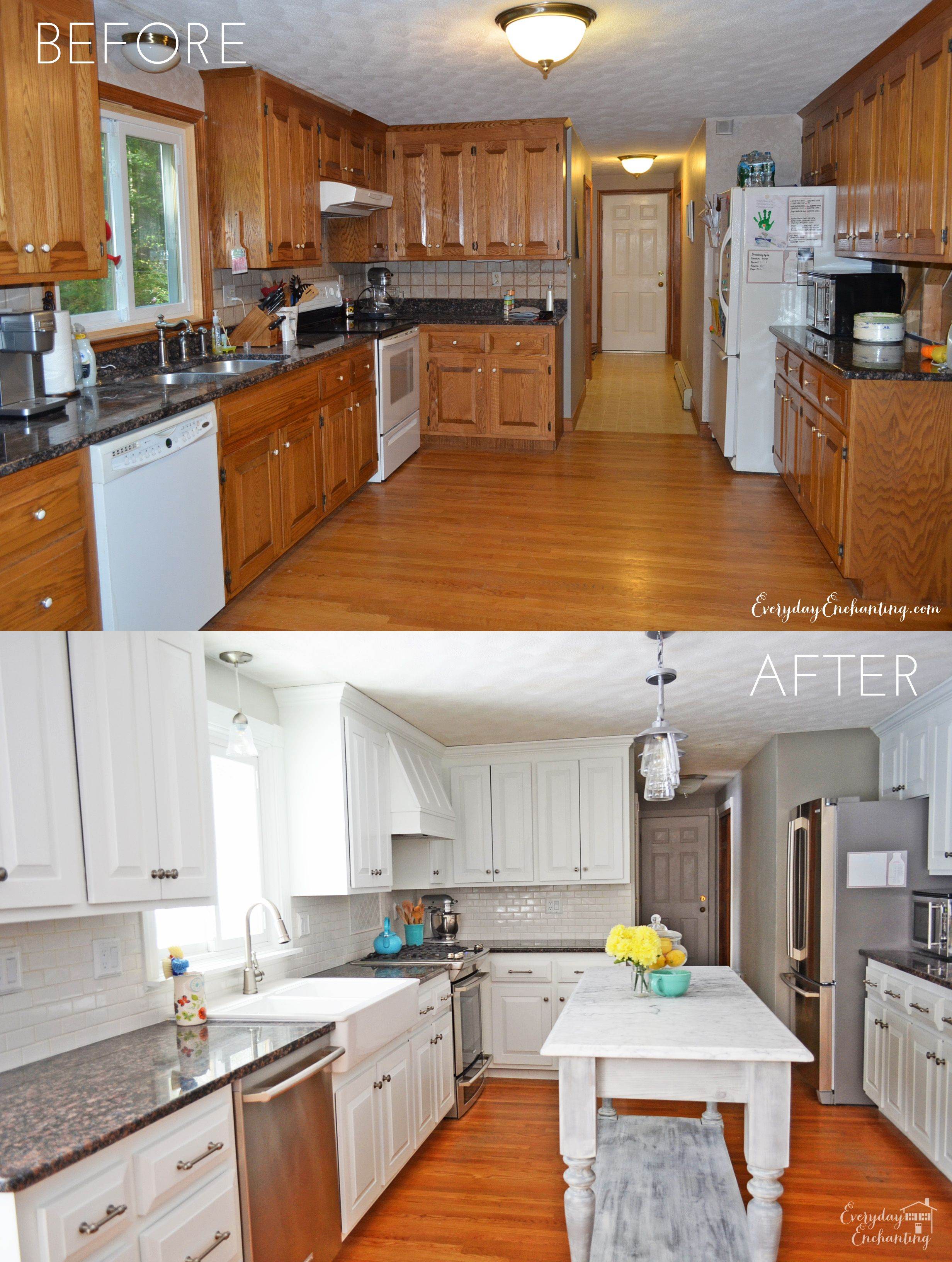 paint kitchen cabinets white How We Painted Our Oak Cabinets and Hid the Grain Stove Narrow kitchen island and Cabinets
