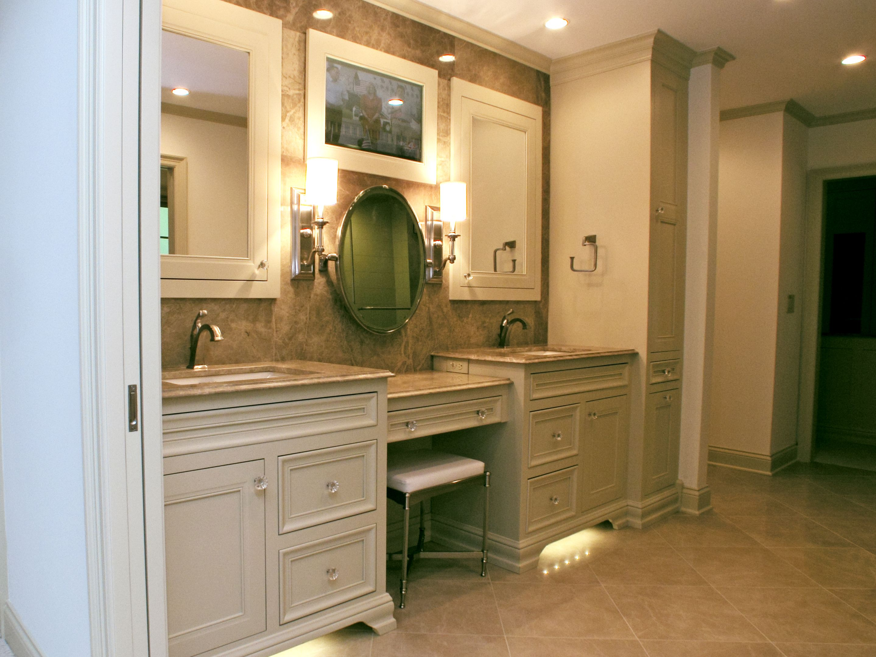 Bathroom Mirrors With Tv Built In Double Vanity Bathroom With Granite Countertops Tile