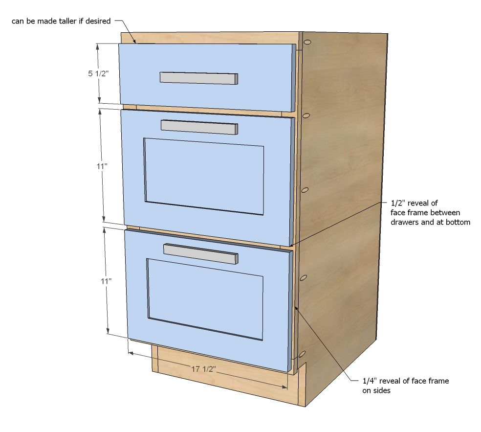 Ana white build a 18 kitchen cabinet drawer base free and easy diy
