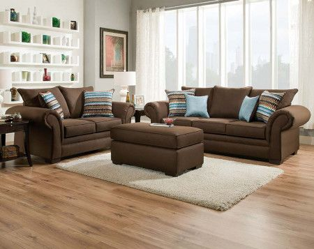 Chocolate Brown Couch Set Jitterbug Cocoa Sofa and Loveseat - american freight living room sets